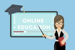 72921213-online-education-concept-teacher-with-pointer-shows-at-the-screen-graduating-hat-
